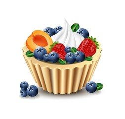 Delicious cupcake with realistic fruits Vector illustration