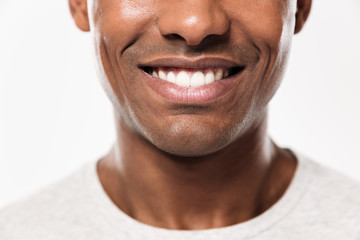 Cropped photo of young cheerful african man