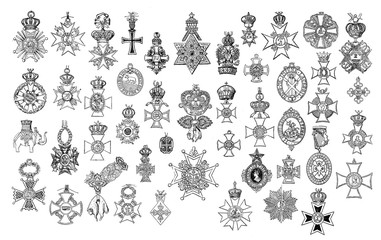 Illustration of vintage crosses and medals.