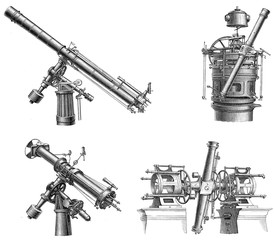 Illustration of old telescopes.