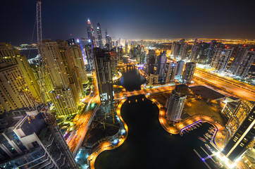 Fototapete - Dubai Marina at night
