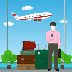 European Man with Traveler's Baggage against the Background of a Take-off Airplane at the Airport , Business Tourism , Vector Illustration