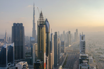 panoramic views of downtown of dubai city