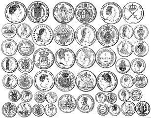 Illustration of ancient coins on a white background.