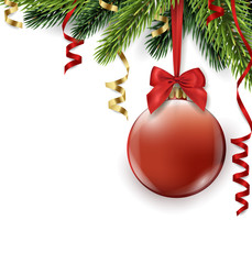 Vector Christmas tree branch with red ball isolated on white. Christmas and new year background with place for your text. Vector