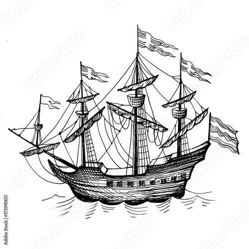 """Vintage Sailboat Sketch """"Old carav..."""