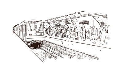 Vector Sketch of Paris Metro rail France in illustration.