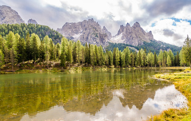 Wall Mural - Antorno lake near Misurina lake in South Tirol Dolomites - Italy