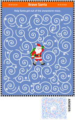 Christmas or New Year maze game: Help the brave Santa get out of the snowstorm maze. Answer included.
