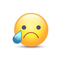 Disappointed emoji face. Crying vector cartoon smiley. Sad emoticon mood.