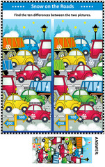 Winter traffic jam picture puzzle: Find the ten differences between the two pictures of cars and trucks on the road. Answer included.