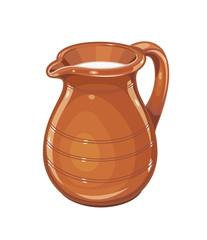 Ceramic jug with milk. Fictile tableware. Capacity for drink.