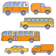 Set of city vehicles. Passenger urban bus. The school yellow bus for children. Retro tourist van. Taxi sedan car. The truck for delivery and transportation of goods.In flat linear style a vector.