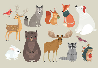 Fototapete - Christmas set, hand drawn style - forest animals. \