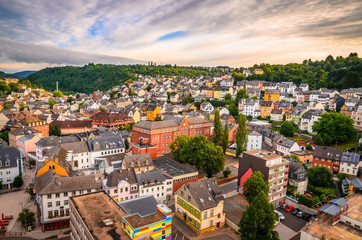 Panoramic aerial view of Idar-Oberstein at sunset, Germany Wall mural