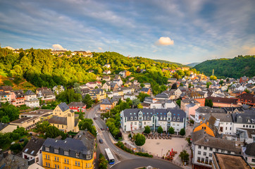 Panoramic aerial view of Idar-Oberstein at sunset, Germany