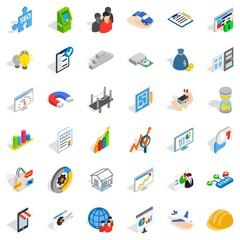 Banking icons set, isometric style