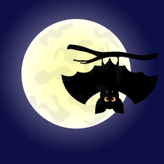 Halloween background with the bat and  moon