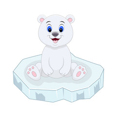 Cute cartoon polar bear sitting on the ice floe