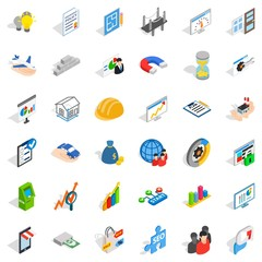 Operator icons set, isometric style