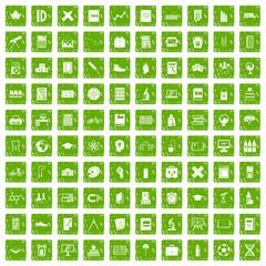 100 school icons set grunge green