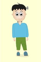 Halloween Frankenstein charakter Vektor Illustration Mensch Junge verkleidet