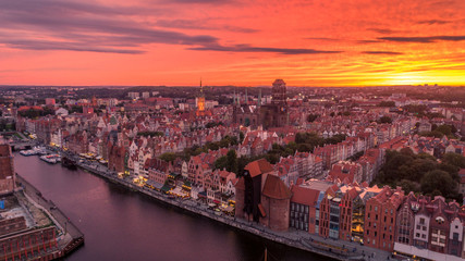 Fototapeta Zachód słońca nad Gdańskiem obraz