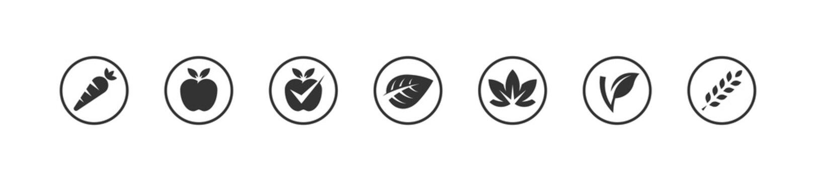 Vegan bio icons set