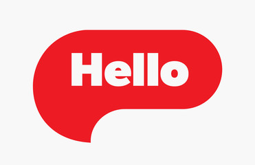 Hello red bubble. Vector quote message illustration. Simple Red Text Hello sign. Speech Red bubble with word Hello. Red Bubble Isolated on white background.
