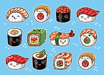 Kawaii rolls and sushi manga cartoon set. Vector illustration