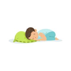Cute little boy sleeping on a pillow cartoon character vector illustration