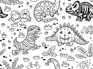 Ink dinosaurs in costumes for Halloween. Vector set of characters