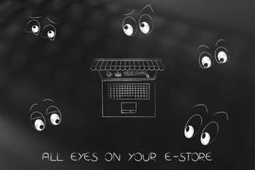 laptop with shop awnings and online shopping button surrounded by cartoon eyes staring