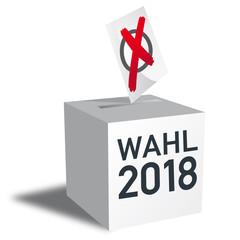 Wahl 2018, Wahlurne und Stimmzettel