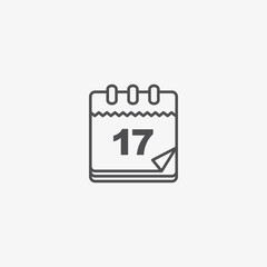 Calendar Vector Icon, Vintage Paper Calendar Vector Pictogram