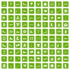 100 shoe icons set grunge green