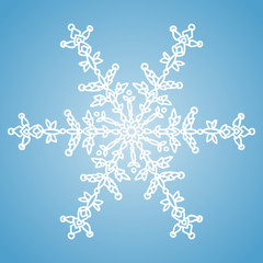 Winter white snowflake on blue background. Christmas element. Vector illustration. Knitted style
