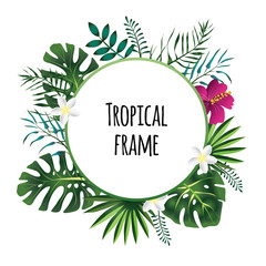 Round tropical frame, template with place for text. Vector illustration, isolated on white background.