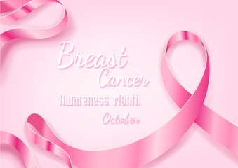 Breast Cancer October Awareness Month Campaign Background with paper pink ribbon symbol
