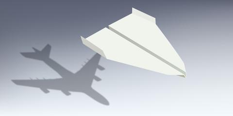 avion - origami - symbole - ombre - avion de ligne -succès - réussite - start-up - concept