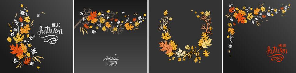 Wall Mural - Autumn leaves dark design