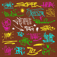 Graffity grunge color font text phrases on wall vector alphabet