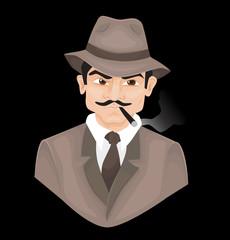 Gangster, detective vector illustration.