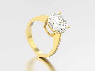 3D illustration yellow gold engagement euro style ring with diamond with reflection and shadow