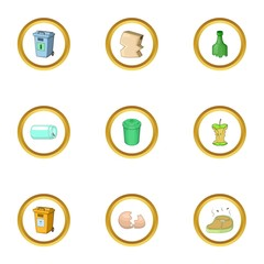 Litter icons set, cartoon style