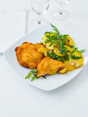 Chicken cordon bleu with potato salad