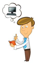 office cartoon clerk standing noting writing and thinking - working with traditional notebook - isolated