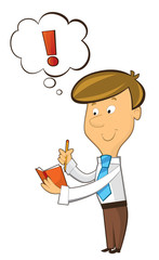 office cartoon clerk standing thinking and having idea and writing in notebook - illustration for children