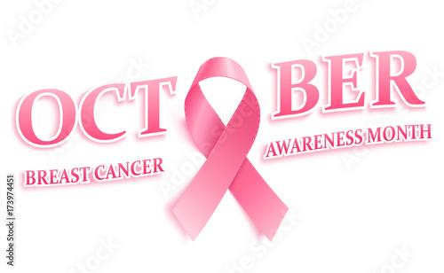 realistic pink ribbon breast cancer awareness ribbon stock vector