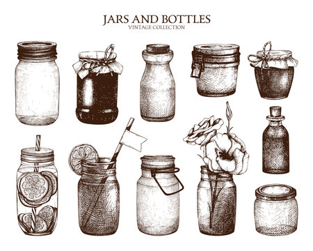 Vector collection of ink hand drawn mason jars and bottles. Vintage decorative glass canning jars isolated on white.
